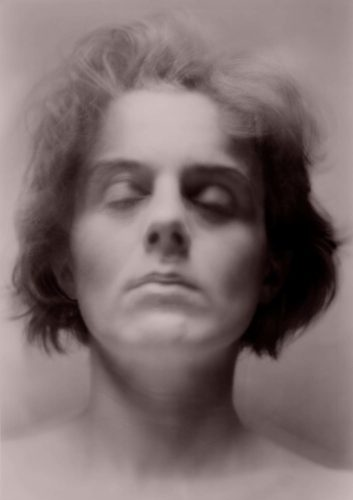 multi-layered portrait in sepia tone