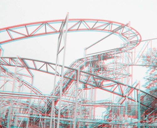 stereo photograph of metal roller coaster construction, Havana, Cuba