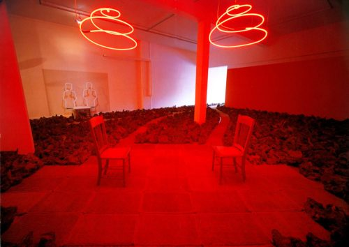 installation view in red light