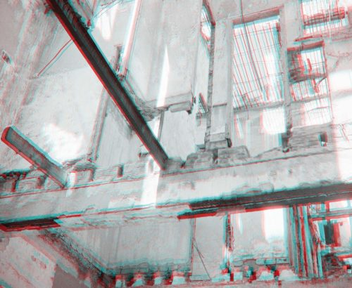 stereo photograph of architectural ruin construction, Havana, Cuba