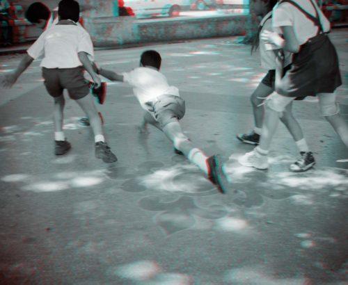 stereo photograph of children playing, Havana, Cuba