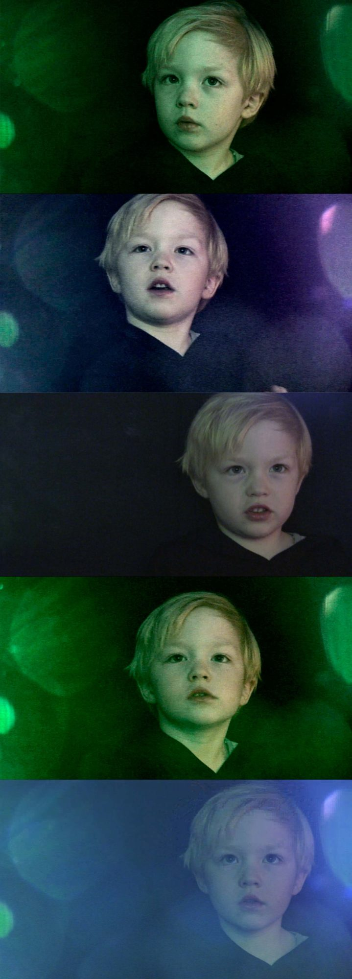 sequence of boy with various expressions on dark background
