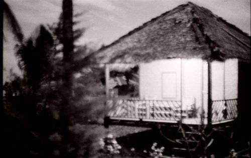 bamboo hut at night